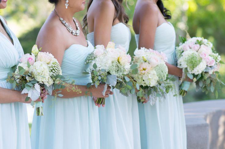 Real Wedding: Coyote Hills Golf Course, Fullerton Florist: The Purple Iris Events Fullerton wedding flowers, bridesmaids bouquets, soft blush, mint, summer wedding, outdoor wedding
