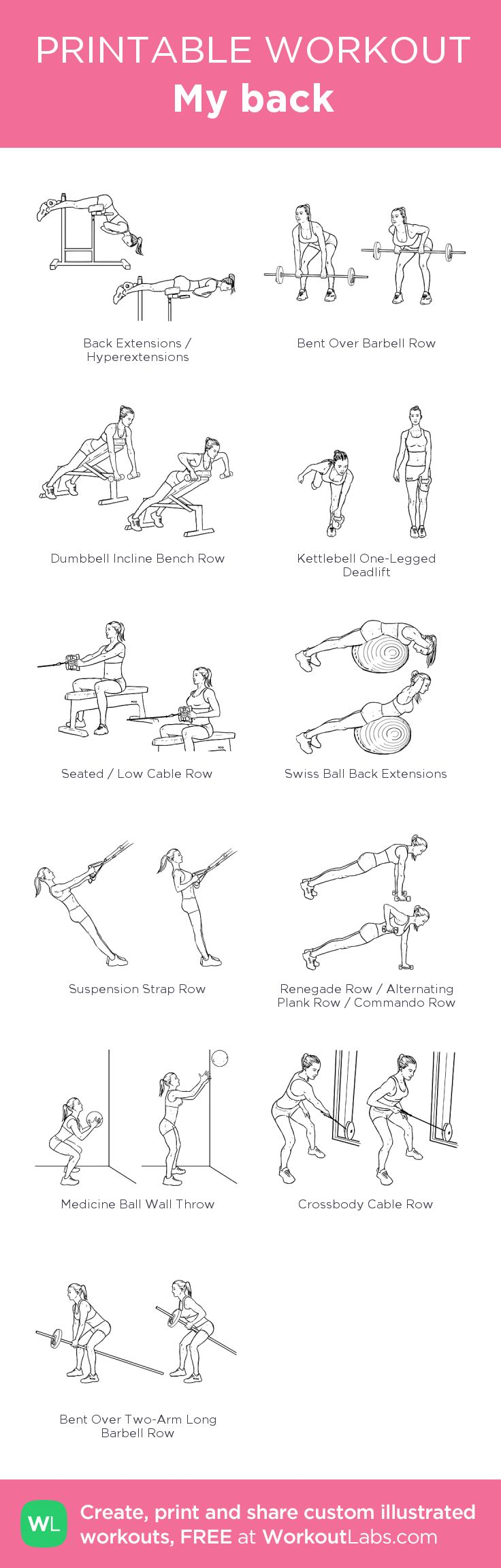 My back: my visual workout created at WorkoutLabs.com • Click through to customize and download as a FREE PDF! #customworkout