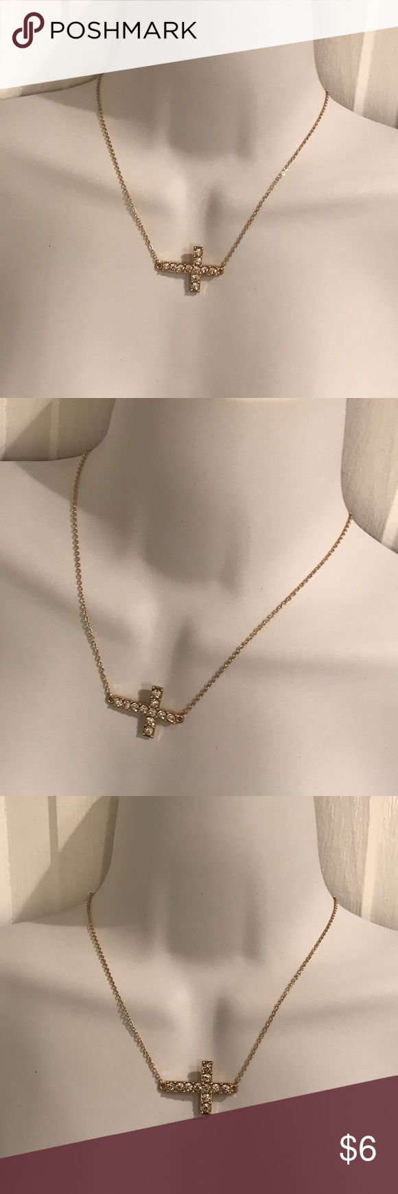 """Sideways crystal cross necklace Gold plated. About 16"""" long with 3"""" extension. Jewelry Necklaces"""