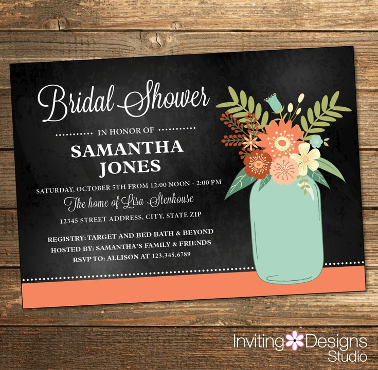 Rustic Bridal Shower Invitation Wedding Shower Coral