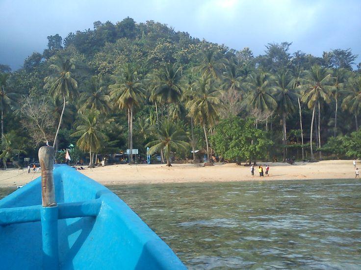 We can rent fishermans ship to looking around Pasir Putih Beach Trenggalek East Java Indonesia