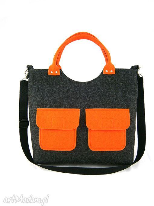 New orange pockets ramię aneta pruchnik torebka listonoszka duża