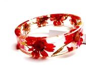 Romantic Red Cherry Blossom Resin Bangle Bracelet: Cherry.