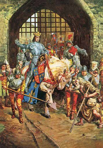 At sunset on the eve of the Battle of Bosworth, Richard rode into Leicester on his horse, named White Surrey.