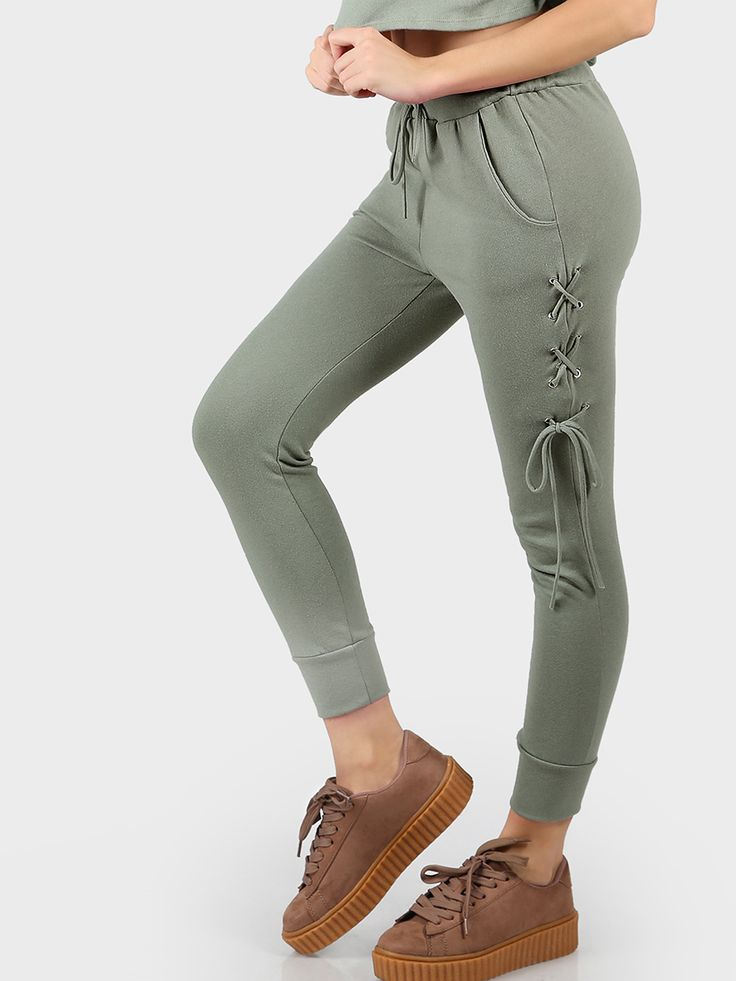 Shop Lace Up Joggers SAGE online. SheIn offers Lace Up Joggers SAGE & more to fit your fashionable needs.