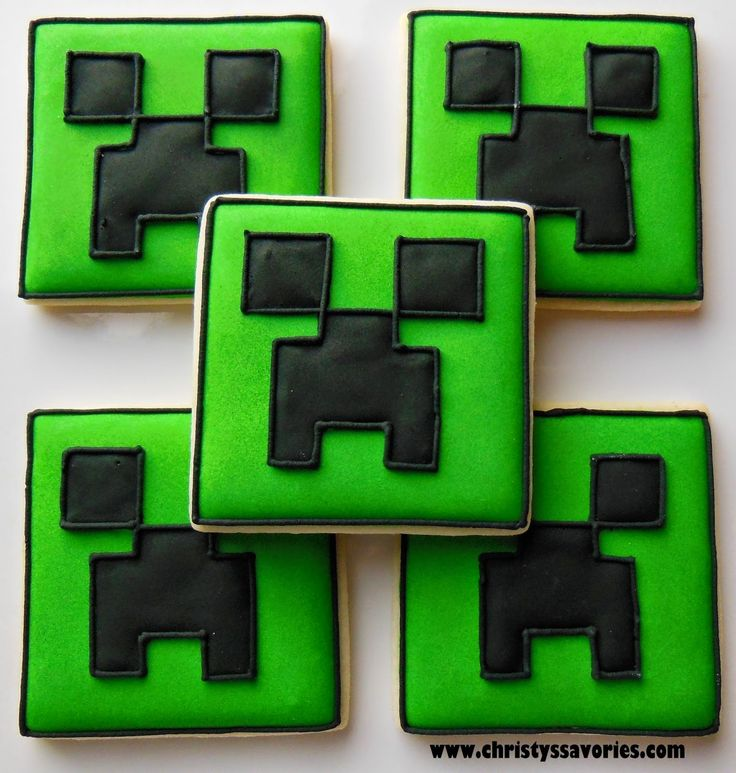 Minecraft Creeper cookies. Simple and bold. Like this blog post.