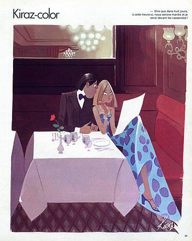 Edmond Kiraz 1978 Les Parisiennes, Kiraz-color, The Lovers, Restaurant illustrated by Edmond Kiraz   Hprints.com