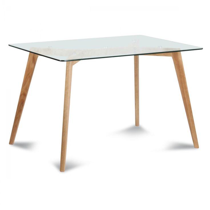 Table de repas verre et bois scandinave (180x90xH.75cm)