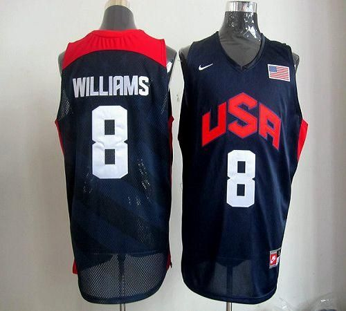 68ae26362 ... Throwback Jersey Nike 2012 Olympics Team USA 8 Deron Williams Dark Blue  Embroidered NBA Jersey!