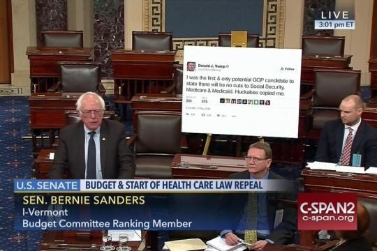 Bernie Sanders posts giant Trump tweet on Senate Floor; Vermont Senator displays Trump's campaign promise not to cut Social Security and Medicare.