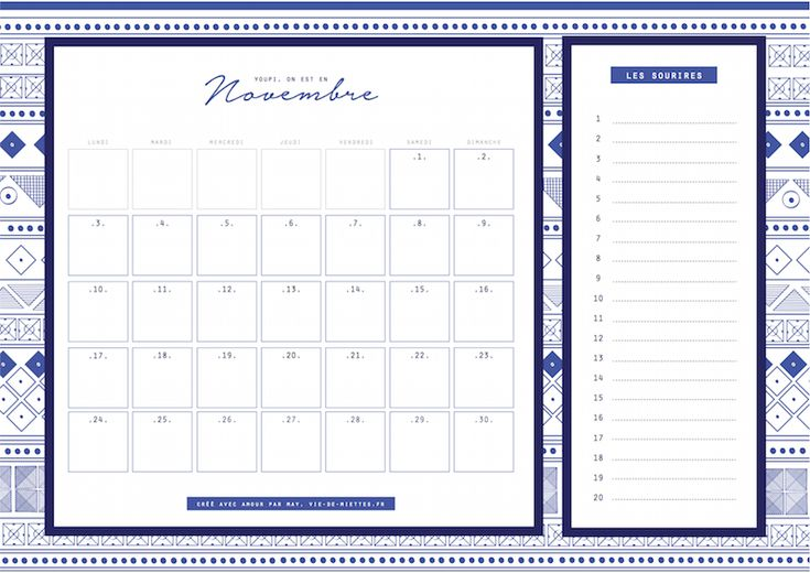 Hello novembre ! - organisateur mensuel