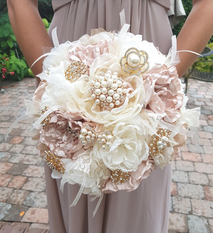 """Elegant Champagne Bridal Brooch Bouquet, Wedding Bouquet, Fabric Flower Bouquet, Forever Keepsake. Cream, Blush, Champagne organza and satin handmade fabric flowers.  Gold tone brooches, tulle, lace and wispy organza ribbon accents. 11"""" bouquet."""