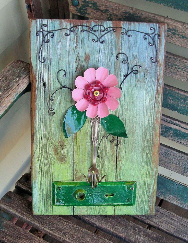 Primitive Found Object Flower Assemblage 3-12, Barn Wood, Faucet Handle, Fork, Folk Art, Wall Art, Home Decor by Imperfetions on Etsy