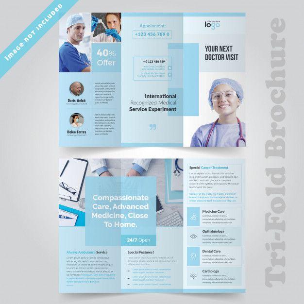 Medical Minimal Trifold Brochure Design For Hospital Trifold Brochure Design Brochure Design Layout Pamphlet Design