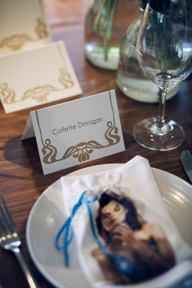Gold screen printed place cards www.papyrusdesign.com