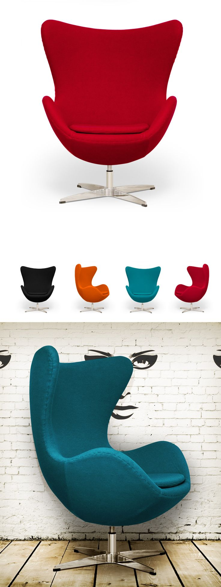 Arne Jacobsen Egg Chair - Euro 5,149(incl. 25% VAT) www.fritzhansen.com The Egg™ is available in a wide range of fabric and leather upholstery. The star base is made of aluminium mounted on a satin polished steel pedestal. The shells are made of a synthetic material, padded with cold-cured foam. An upholstered foot stool with aluminium base is available for the Egg.