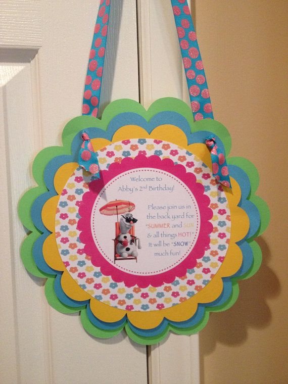 Olaf Summer Party Welcome Door Sign on Etsy, $22.00