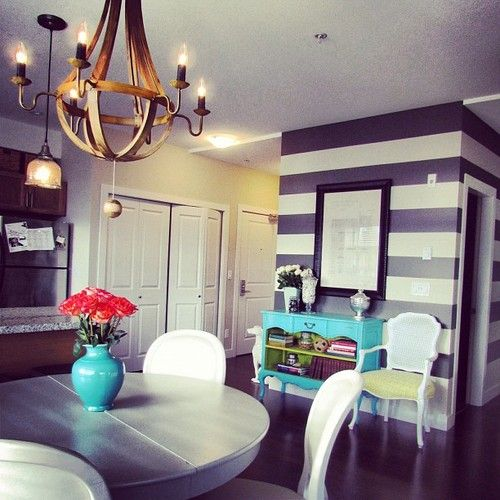 Striped Wall Could Use Chalkboard Paint And Stripes On Small In Kitchen Jillian HarrisStriped Accent WallsDecorating