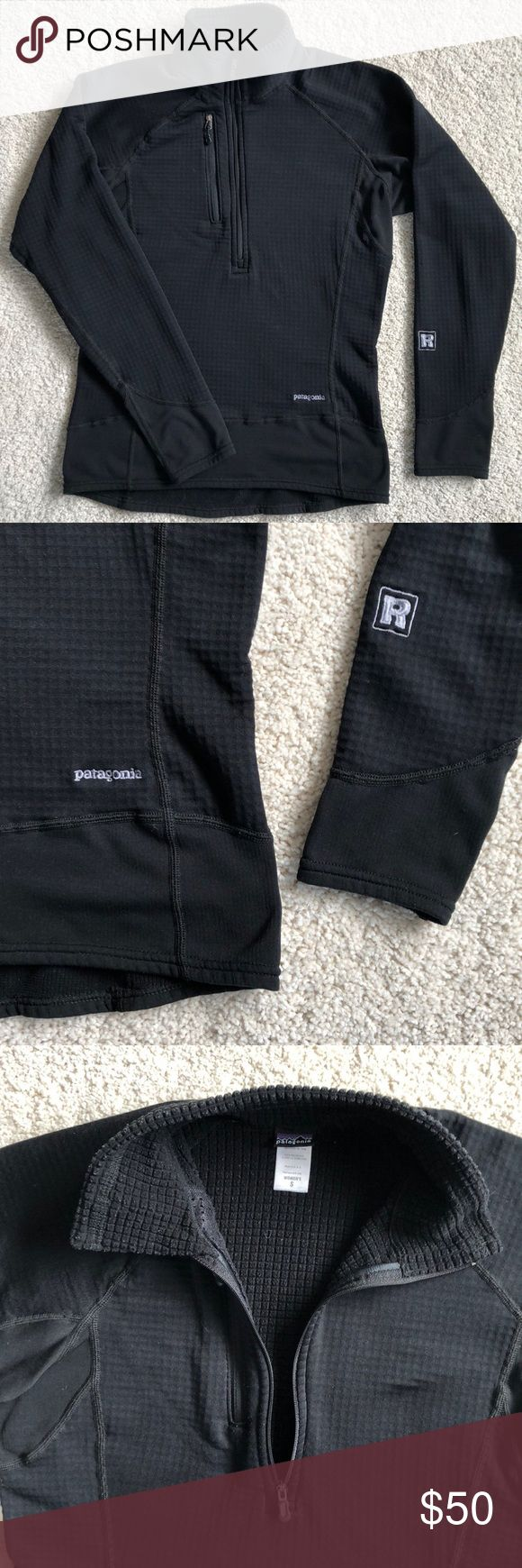 Patagonia Women's R1 Pullover Patagonia  R1 Pullover Women's Small Black 🐧🖤 Fall 2007 The Patagonia R1 Hoody is a timeless classic, a standard for mid layers ❄️ Polartec Power Grid fabric with odor control Light and breathable with outstanding stretch and durability Pullover silhouette has deep center-front zipper for quick venting One left-chest pocket Smoke and pet free home; in good used condition! Wear shown in photo. Patagonia Sweaters
