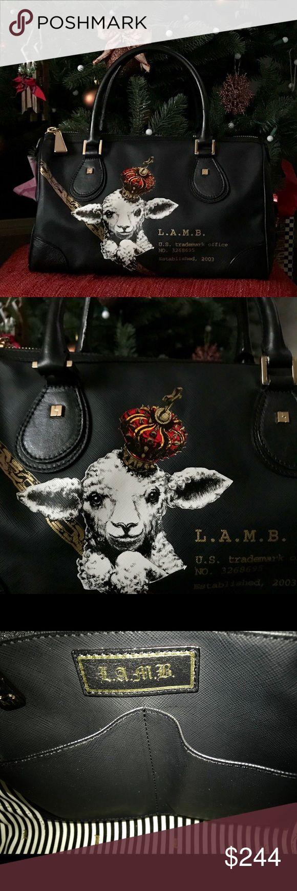 "✨L.A.M.B.✨ LAMB handbag has little signs of wear nothing to noticeable. As shown on pictures. I say it's 10/10 please look at all pictures and ask questions.  leather trim. Holds your wallet, keys, sunglasses, lipstick and personal technology. Dual handles. Handle drop: 6"" length.  Size: 13"" wide across bottom, 13"" wide across center, 13"" wide across top x 6"" deep x 9"" high. L.A.M.B. Bags Satchels"