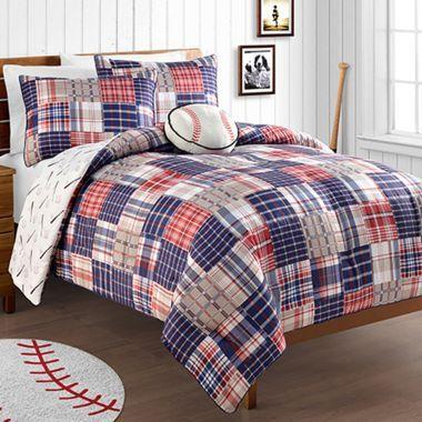 Baseball Home Run Reversible Comforter Set Found At