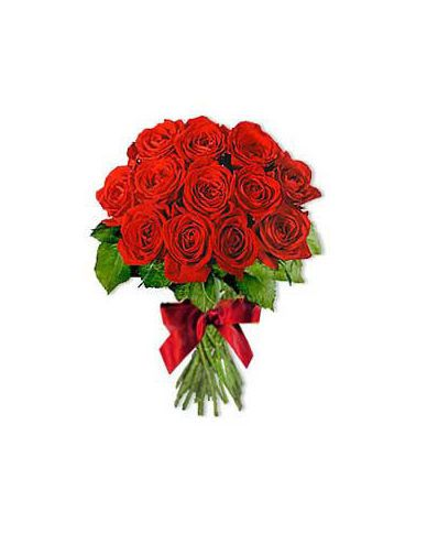 A Designer Hand Bunch Of Exotic 24 Dutch Red Roses With Seasonal