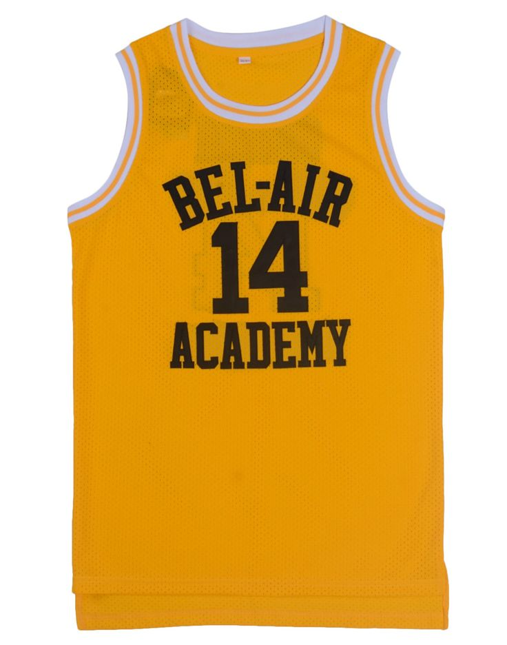 Basketbal Jersey Zal Smith Verse Prins Jersey Shirts Geel Zwarte Letters en Maroon Letters Hiphop Basketbal Jersey