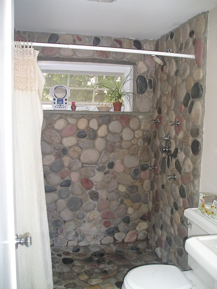 17 best ideas about river rock shower on pinterest for Rock bathroom designs