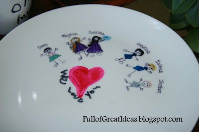 Permanent Marker Designs on dollar store Mugs and Plates