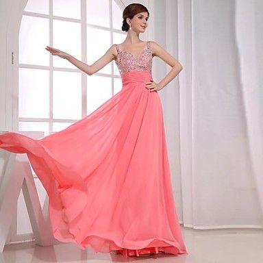 una línea de vestidos de noche de gasa palabra de longitud con cuello en V – USD $ 89.99