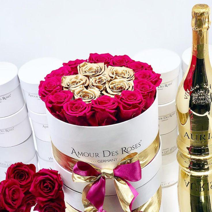 Another Word for elegance✨ #amourdesroses #luxury #elegant #gold #magenta #champagne #sparkle #rosebox