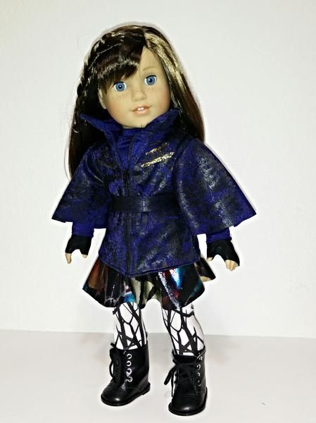 Turn your doll into DisneyDescendants Evie with thisvery detailedoutfit made withprintedfabric. This listing is for the jacket, blouse, skirt, leggings, belt and gloves. The doll and boots are not included. Ready to ship.