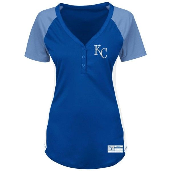Majestic Women's Kansas City Royals League Diva T-Shirt ($45) ❤ liked on Polyvore featuring tops, t-shirts, majestic t shirts, deep v neck top, mlb t shirts, blue tee and kansas city royals t shirt