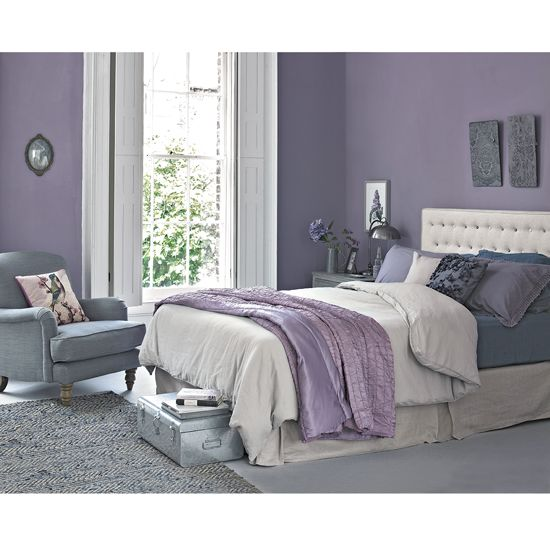 Create a restful bedroom scheme by teaming laid-back lilac with soft greys