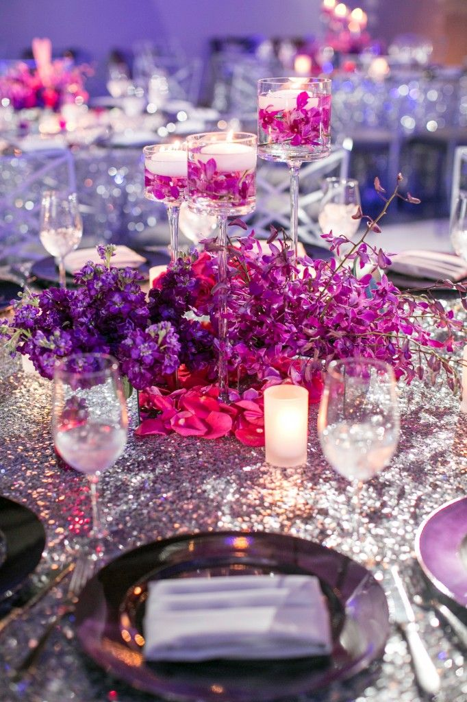 Purple flower centerpiece silver sequin tablecloth linen