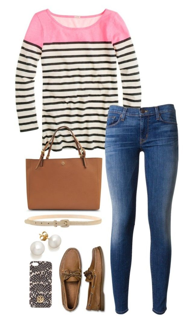 """""""pink and stripes."""" by the-southern-prep ❤ liked on Polyvore featuring J.Crew, Hudson, Tory Burch, Sperry Top-Sider, Gigue, women's clothing, women's fashion, women, female and woman"""