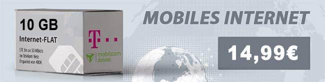 10GB LTE Telekom Internet Flat für 14,99€ http://www.simdealz.de/datentarif/mobilcom-debitel-internet-flat-lte-10000/