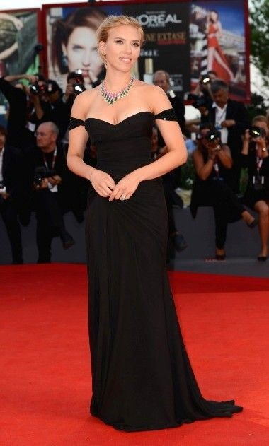 Scarlett Johansson Black Dress at Venice Film Festival 2013