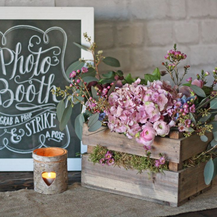 Wooden crate box rustic wedding centrepiece wooden crates wedding centerpi - Deco de table campagnarde ...