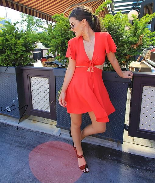 Happy Hour Cut-Out Mini Dress red tie fit flare street style Toronto women's fashion online boutique Shine & Gold