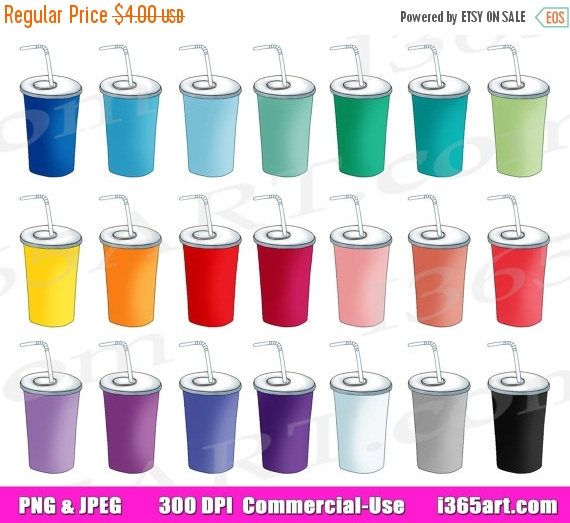 50% OFF Soda Clipart, Soda Pop Clip Art, Soft Drink, Beverage, Drinks, Soda Cup, Planner Graphics, Drink Icon, Digital PNG, Commercial by I365art