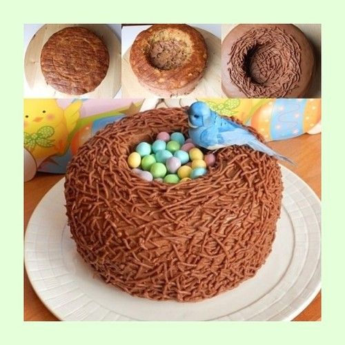perfect cake for Easter - the Chinese noodles could be dipped in honey for a sweet crunch, would probably use a peanut butter frosting to offset the sweetness of the honey coating the noodles, and use a milk chocolate cake as the base. Cadbury eggs for center, of course.