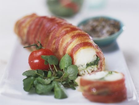 Seeteufel mit Pesto in Baconmantel