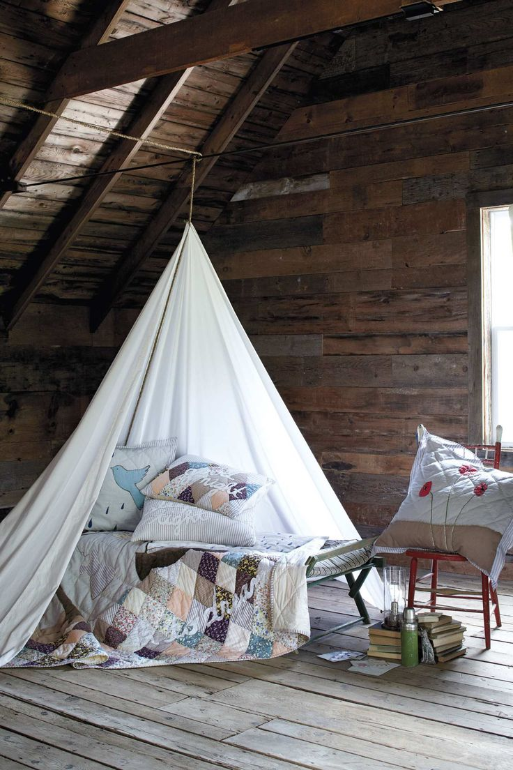I like the canopy hanging idea here, would be great for a little nook or a hidden space for a child or teen.