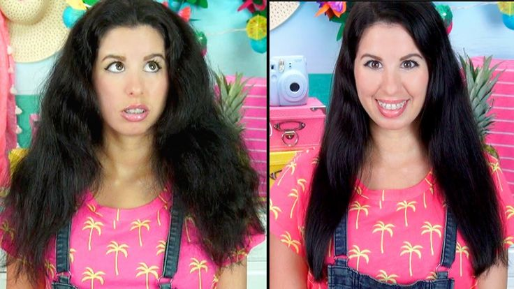 How To Get Straight Hair Using NO HEAT! Works on Curly, Frizzy or Long H...