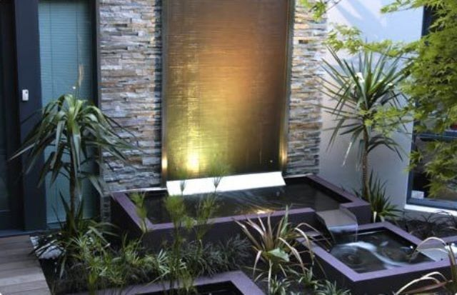 In house garden waterfall design simple home garden for Simple water features for backyard