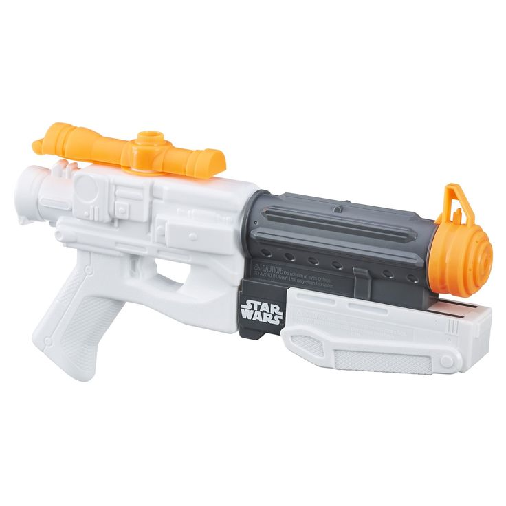 Star Wars Episode VII Nerf Super Soaker First Order Stormtrooper Blaster. Dive into battle and unleash a soaking attack. Tank holds up to 16 fluid ounces (473 milliliters) of water. Fires a stream of water up to 35 feet (10 meters). Includes 1 water blaster.