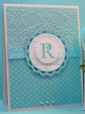 Lovely Letters, Vintage Wallpaper EF, Perfect Pennant die: Card Idea, Vintage Wallpapers, Monogram Card, Cards Monograms, Wallpaper Ef, Cards Monogrammed
