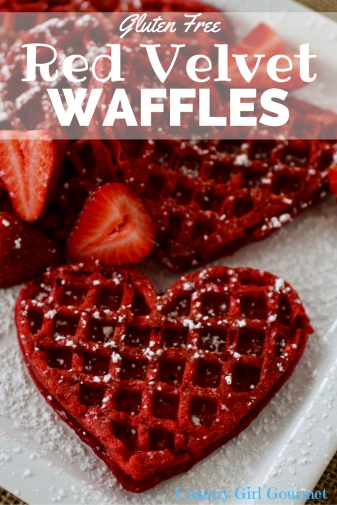 Sometimes when you tweak a recipe a little bit you come up with beautiful things like these Gluten Free Red Velvet Waffles. Perfect for Valentines day! #valentinesday #redvelvet