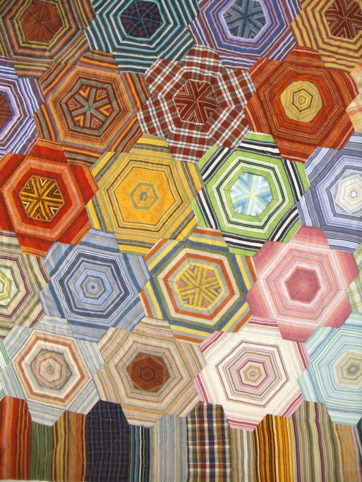 Hand stitched hexagon patchwork by Sarah Gill, seen at the Birmingham festival of quilts 2012, photo by Janet Haigh